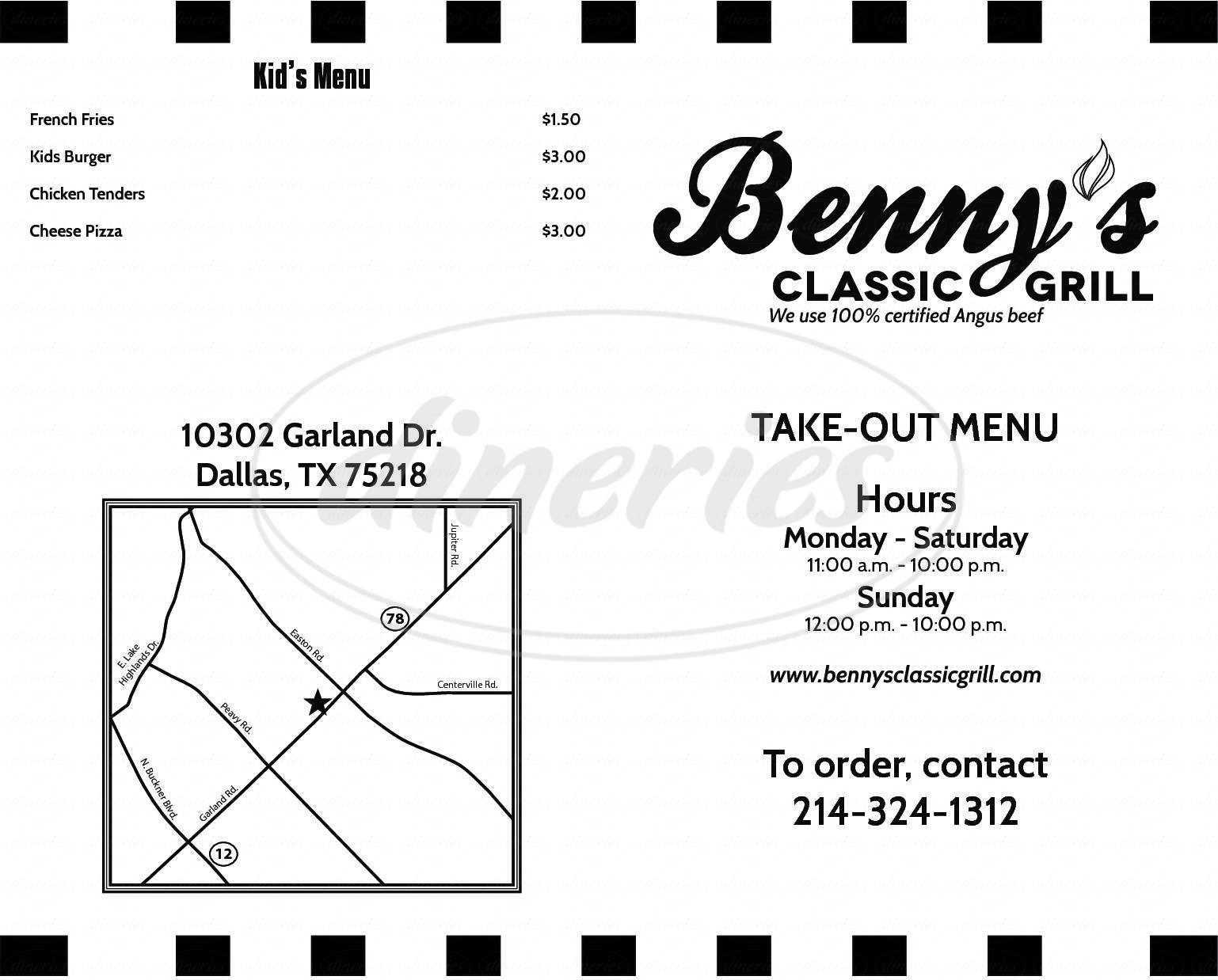 menu for Bennys Classic Grill