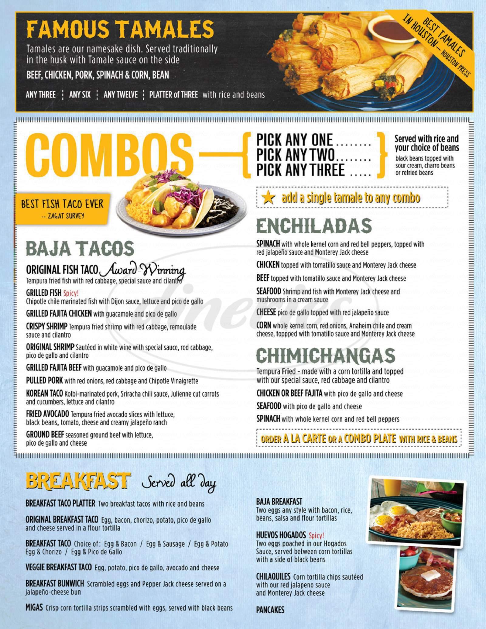 menu for Berryhill Baja Grill