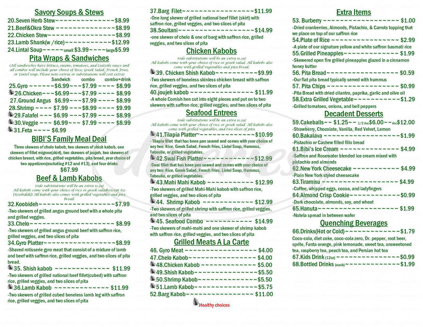 menu for Bibi's House of Kabob