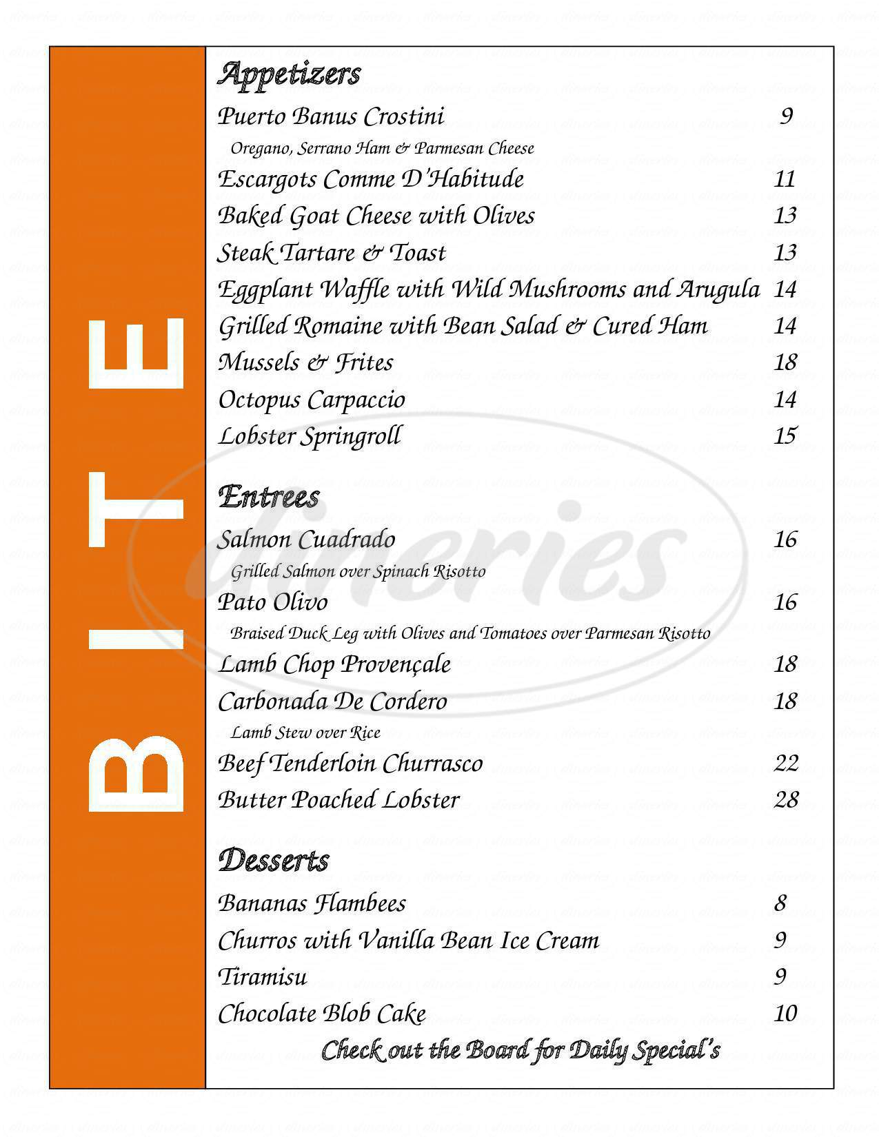 menu for BITE