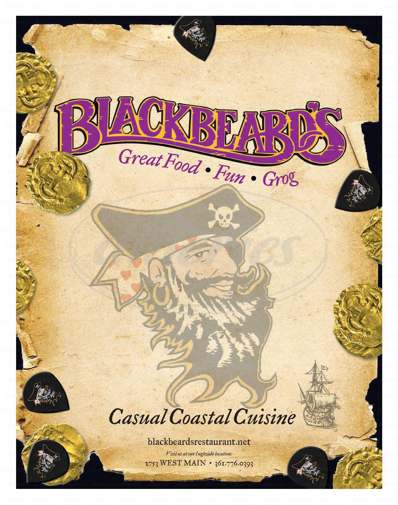menu for Blackbeards Too