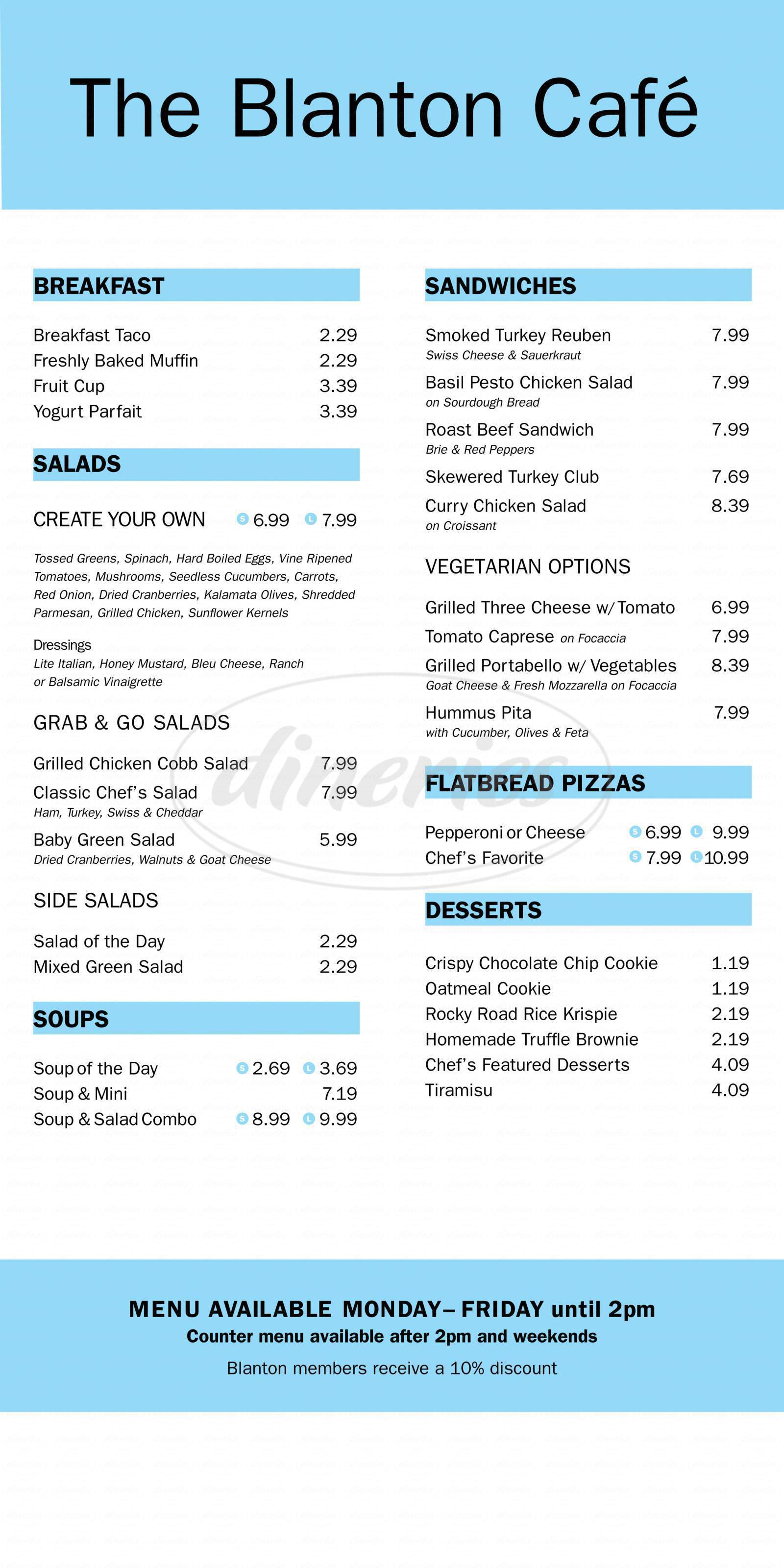 menu for The Blanton Cafe
