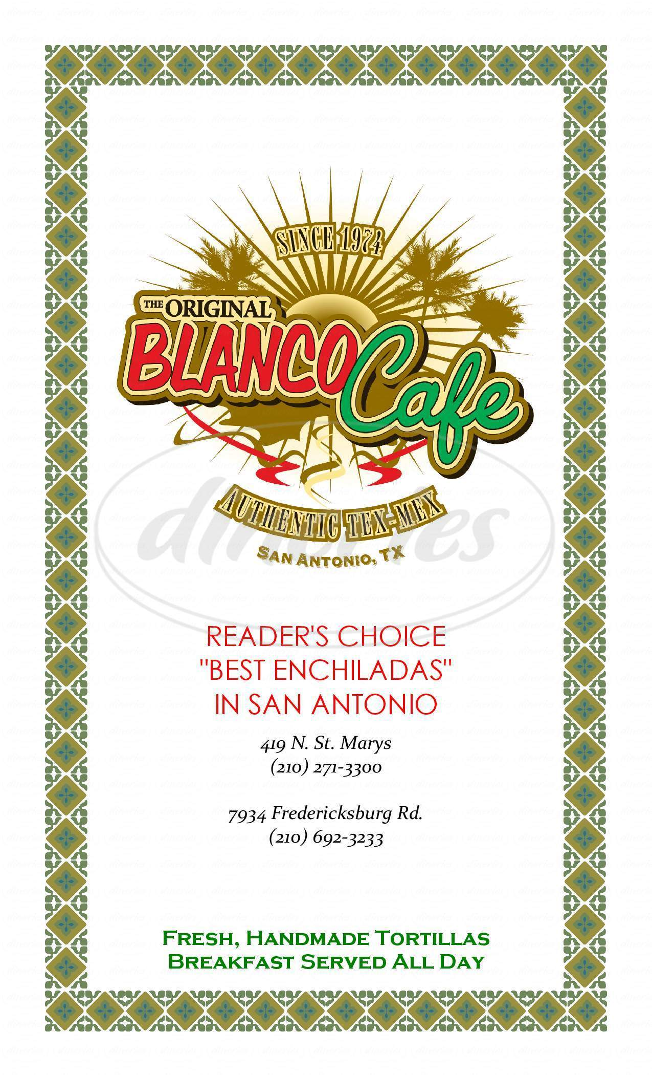 menu for The Original Blanco Cafe
