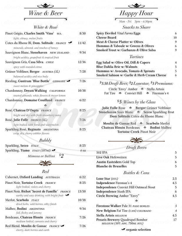 menu for Blue Dahlia Bistro