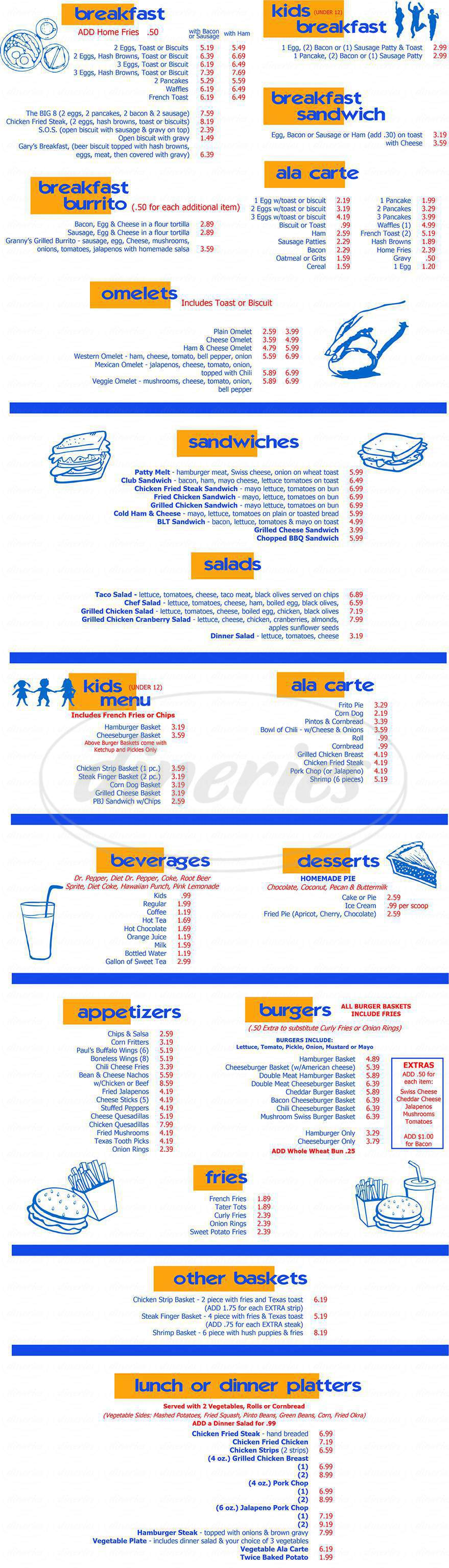 menu for Burgers-N-Fries