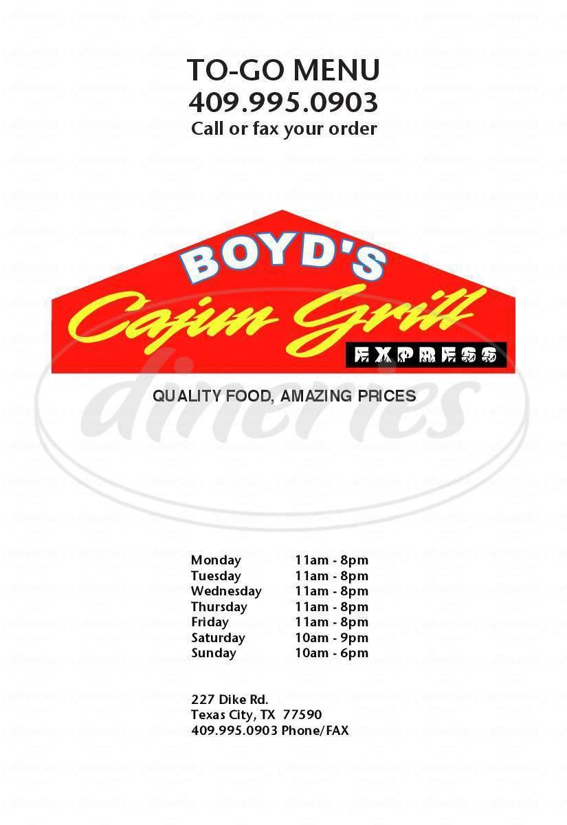 menu for Boyd's Cajun Grill