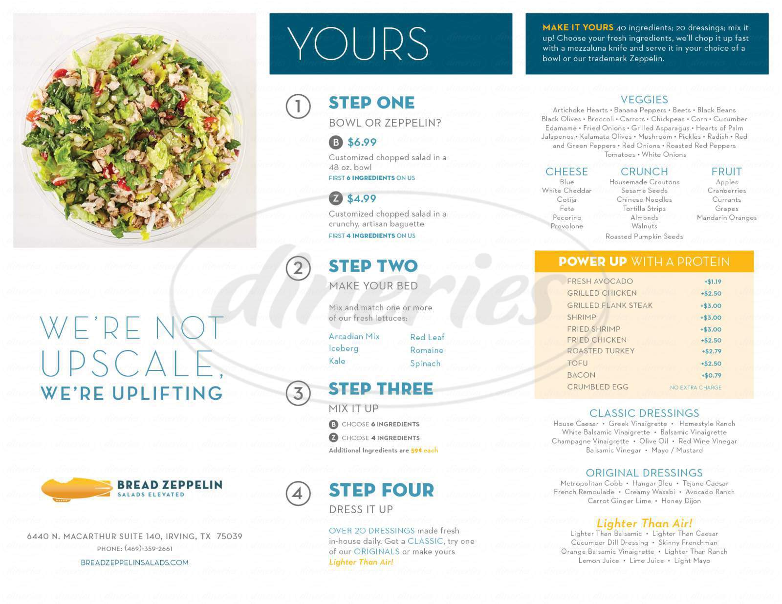 menu for Bread Zeppelin Salads Elevated
