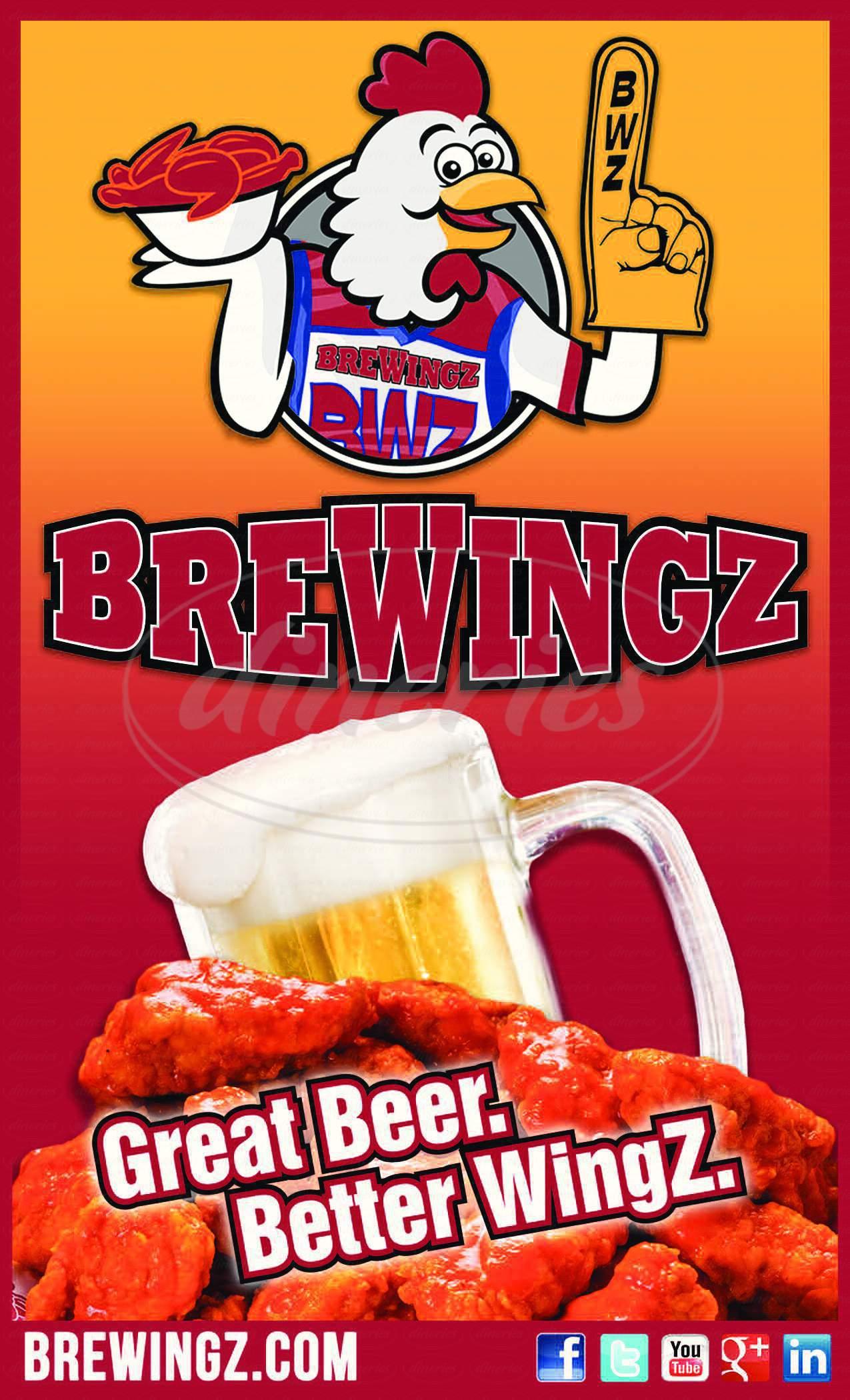 menu for Brewingz Sports Bar & Grill