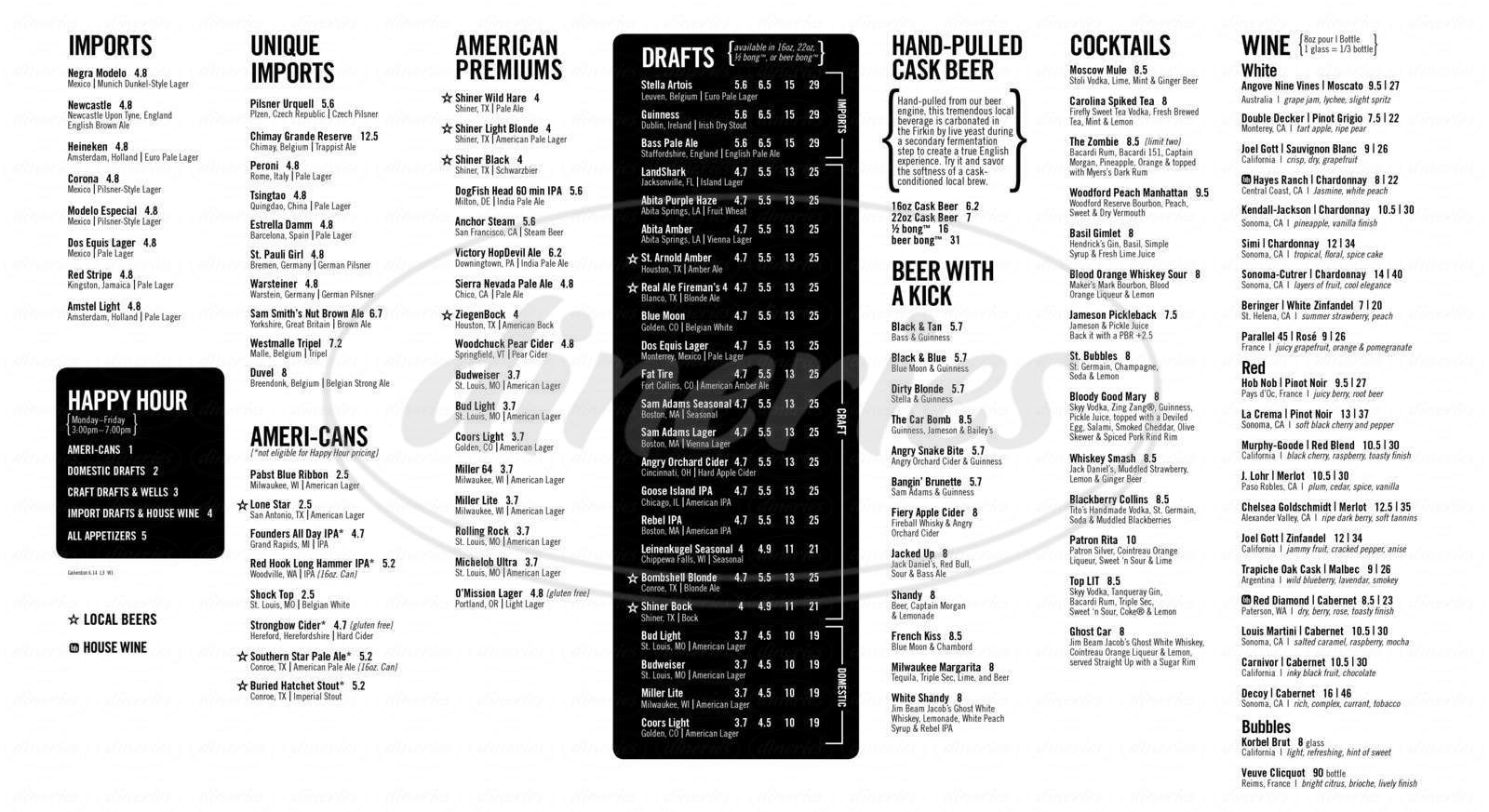 menu for Brick House Tavern + Tap