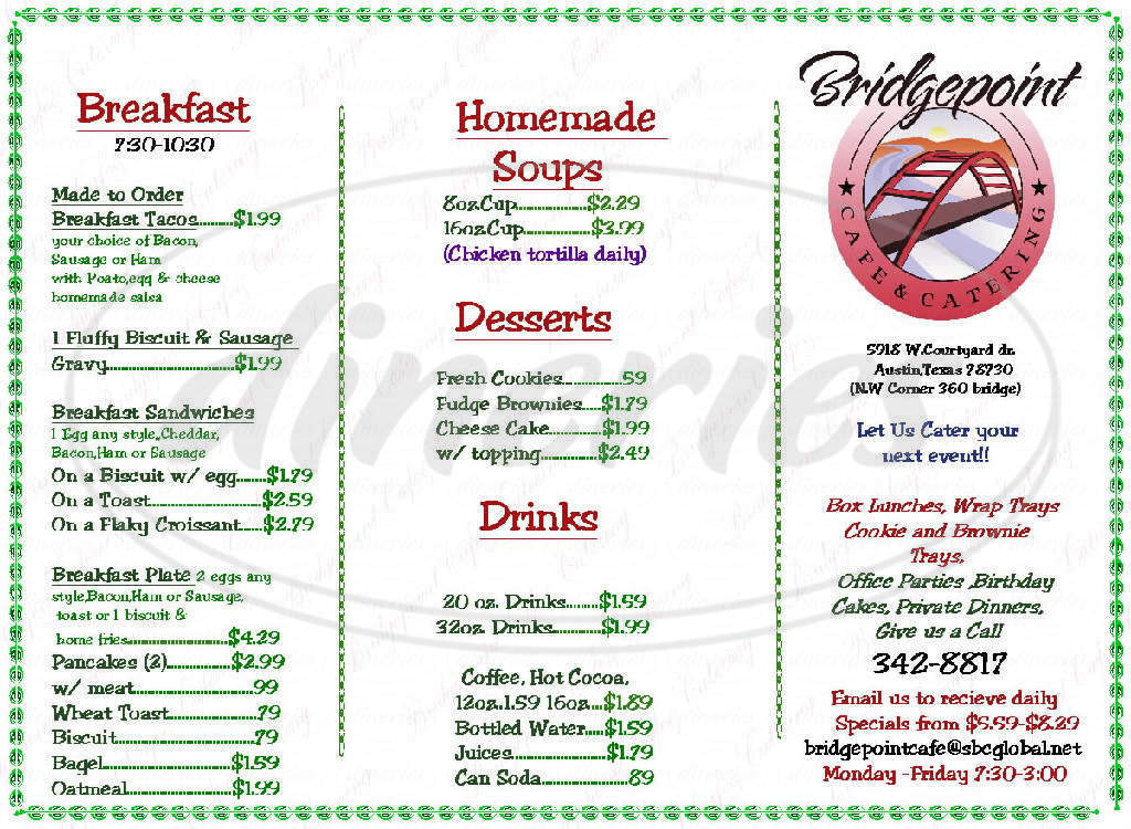 menu for Bridgepoint Plaza Cafe