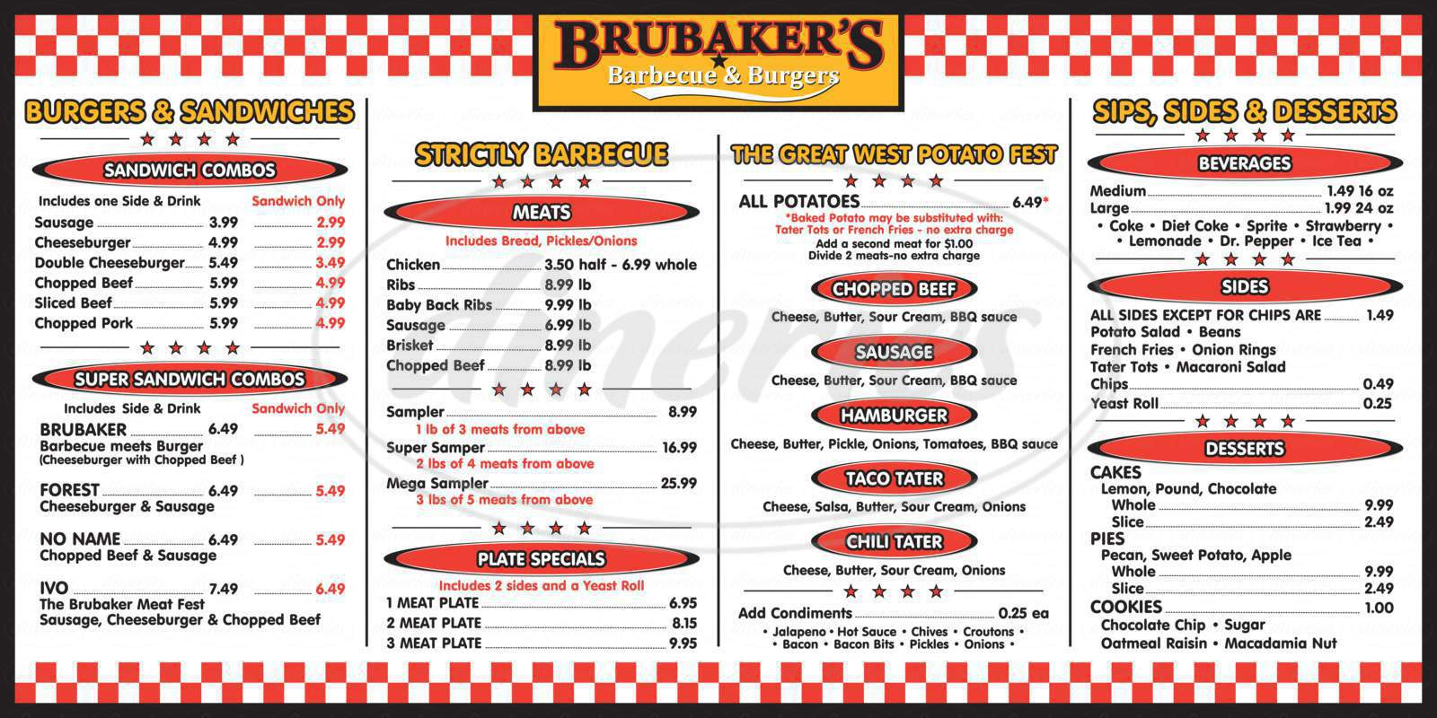 menu for Brubaker's Barbeque & Burgers