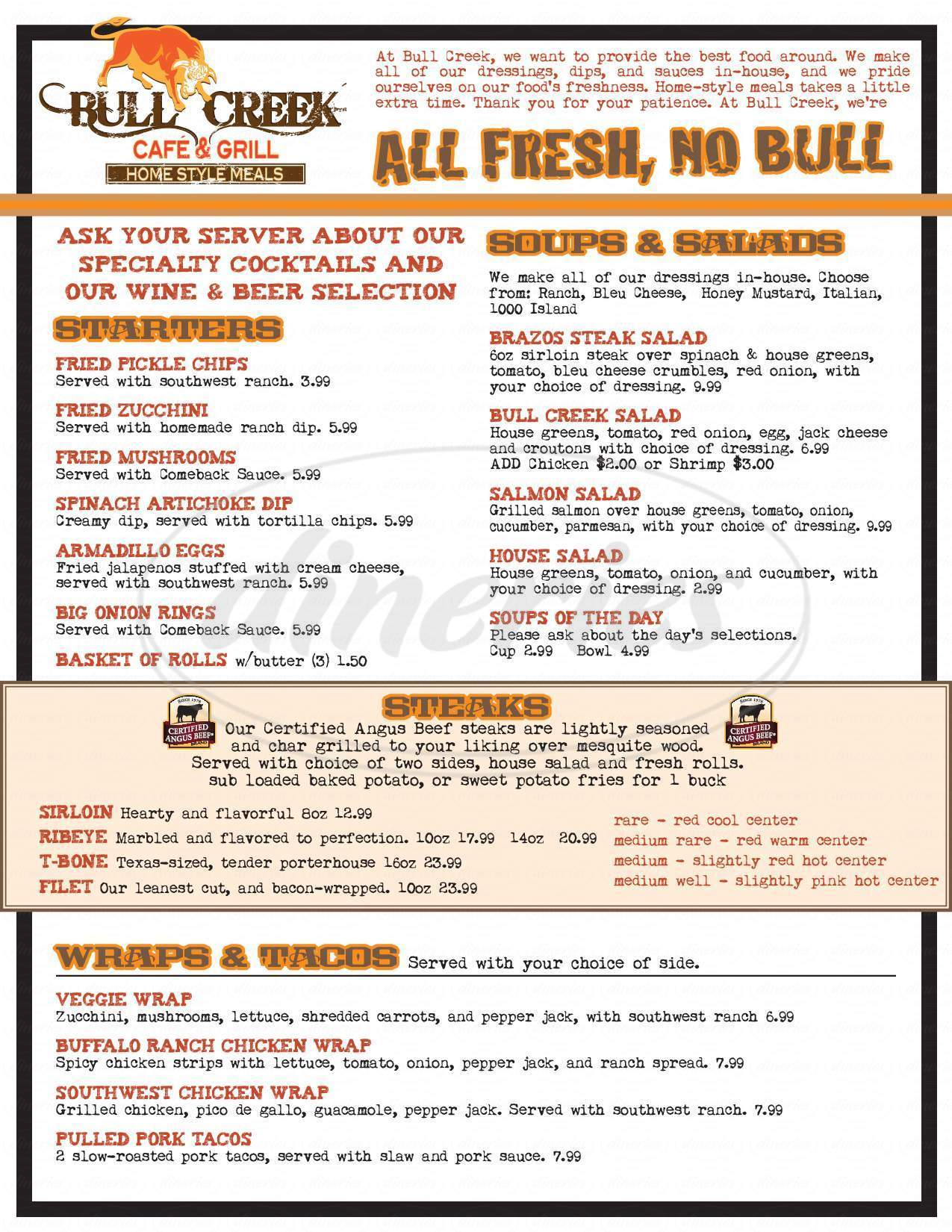 menu for Bull Creek Cafe & Grill