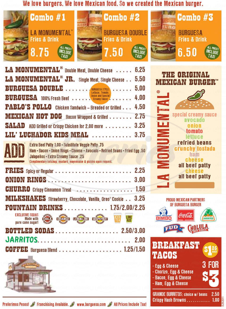menu for Burguesa Burger