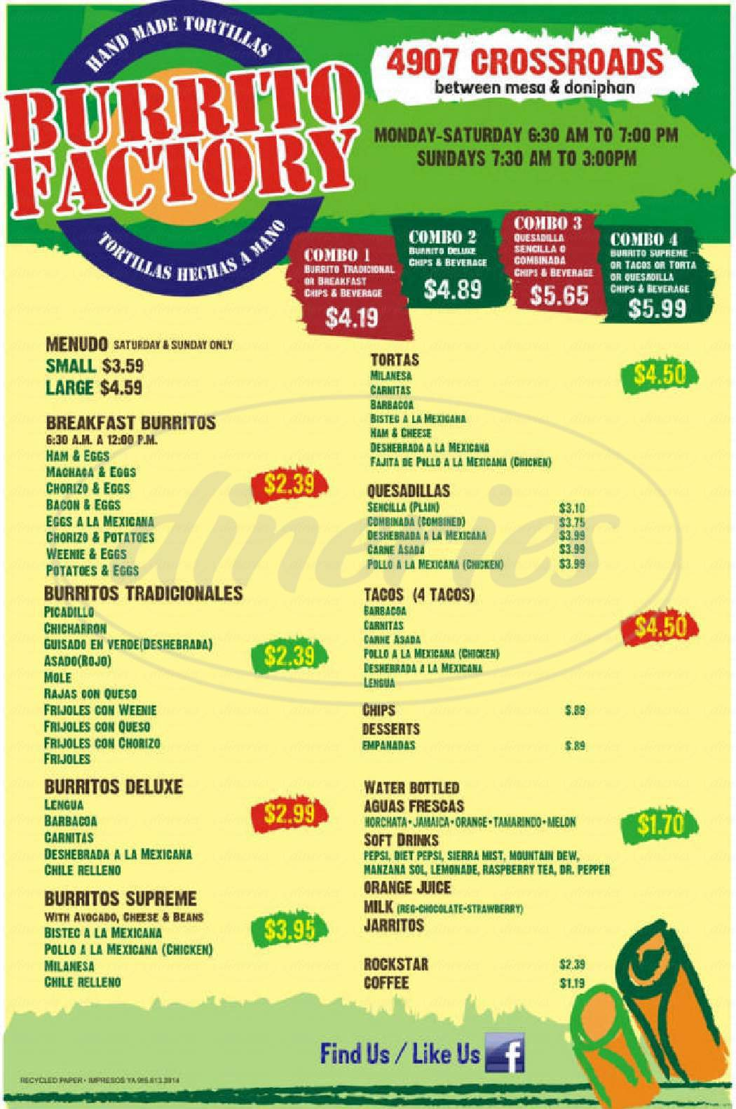 menu for Burrito Factory