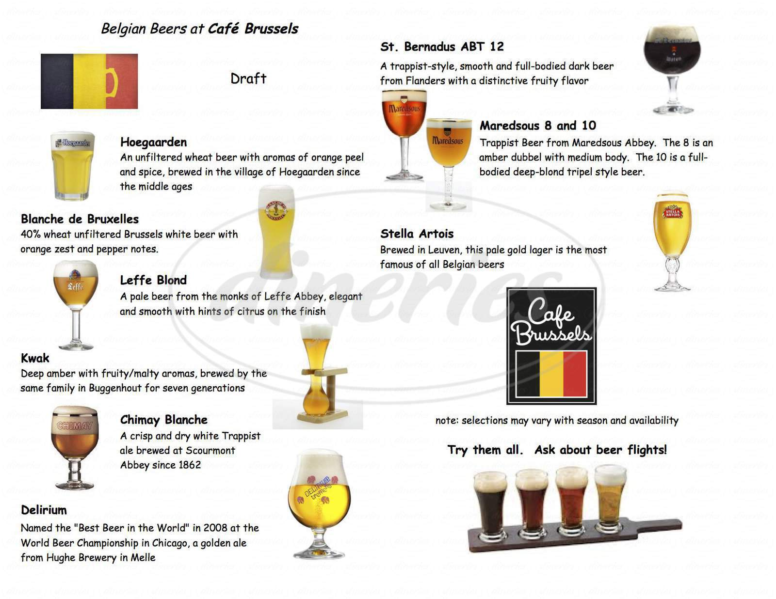 menu for Cafe Brussels