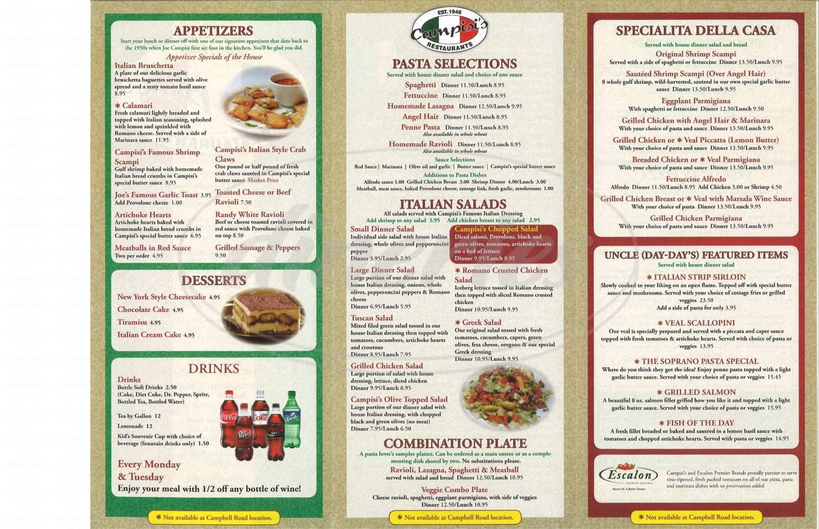 menu for Campisi's