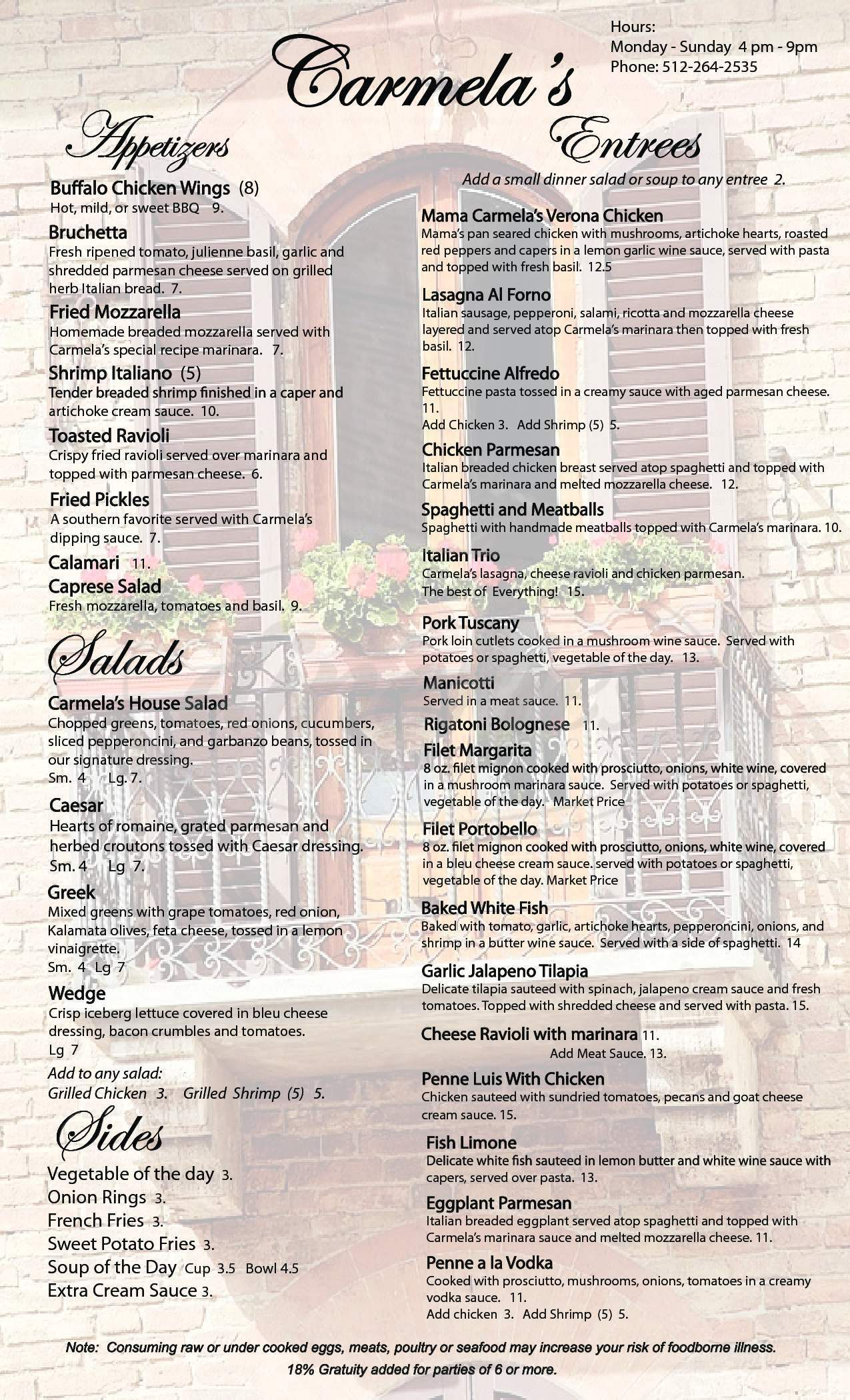menu for Carmela's Pizzeria Cafe & Deli