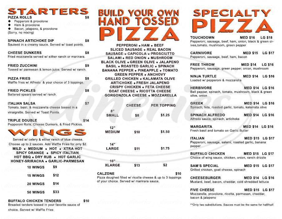 menu for Centercourt Pizza & Brew