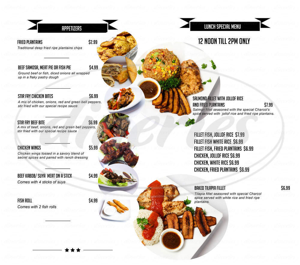 menu for Charcol Grill