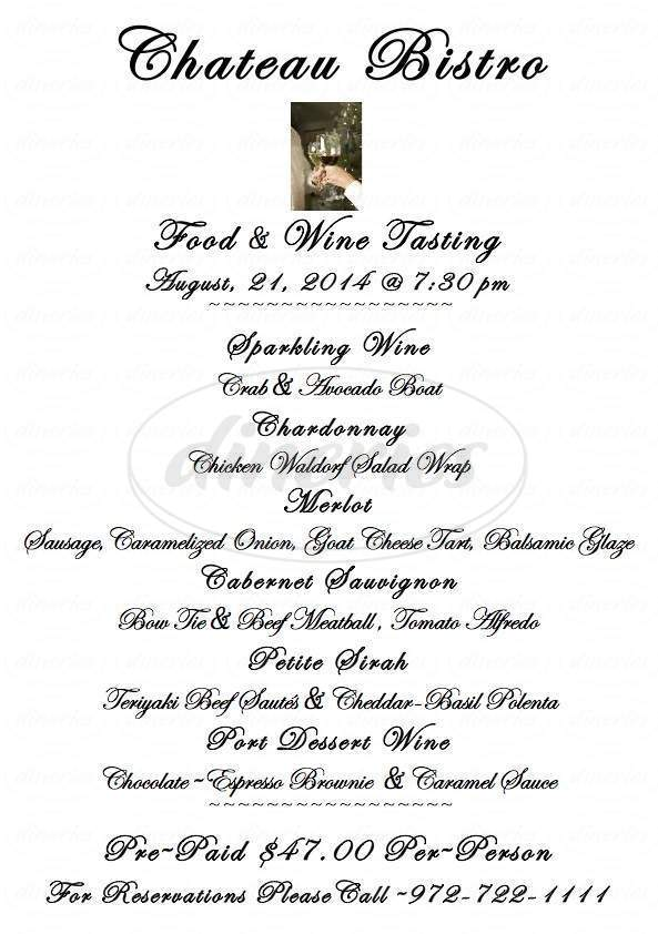 menu for Chateau Bistro