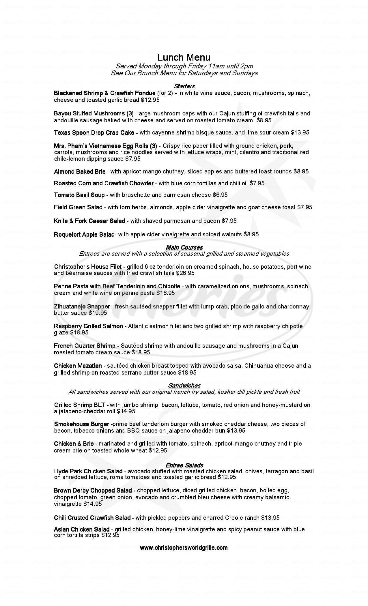 menu for Christopher's World Grille