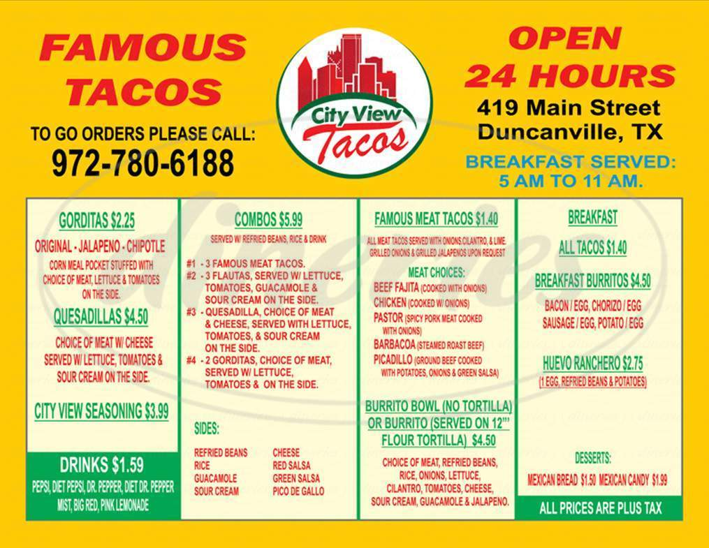 menu for City View Tacos