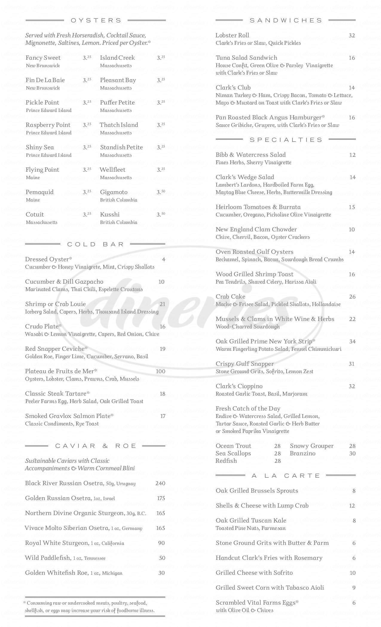 menu for Clark's Oyster Bar