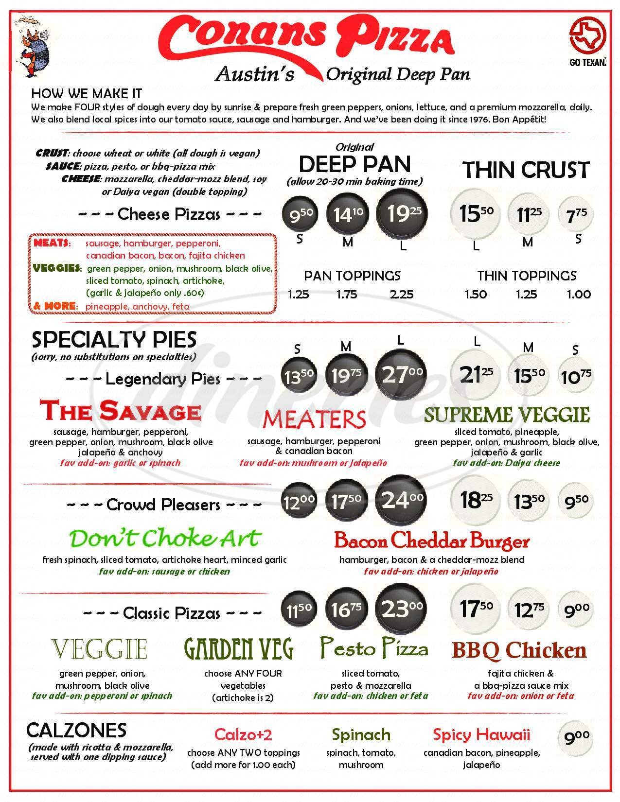 menu for Conans Pizza South