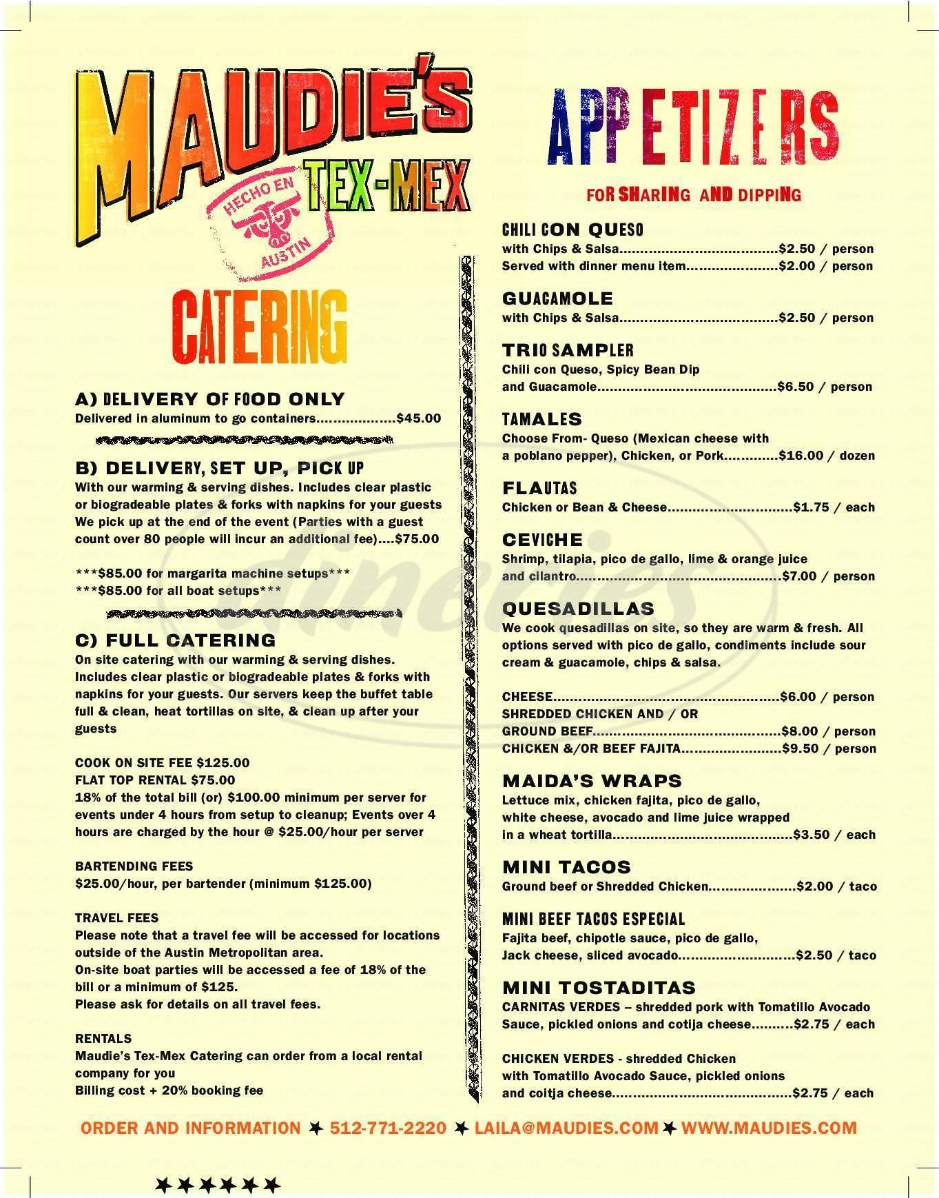menu for Maudie's Hacienda
