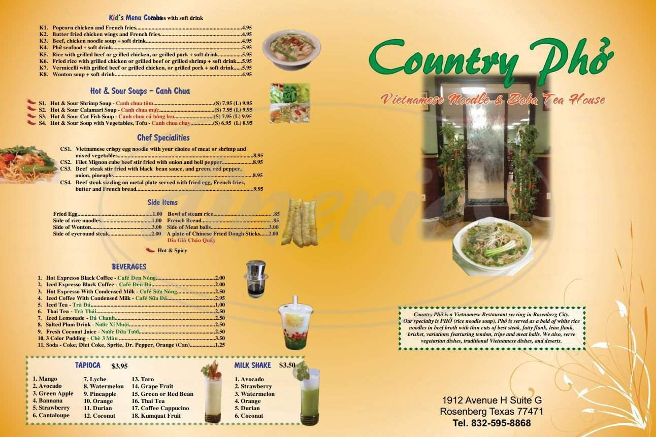menu for Country Pho