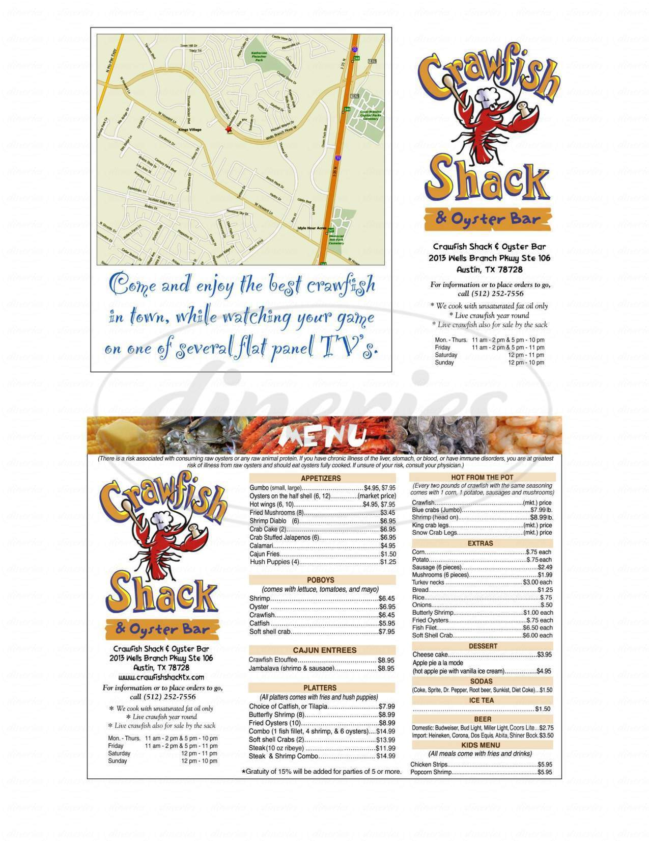 menu for Crawfish Shack & Oyster Bar