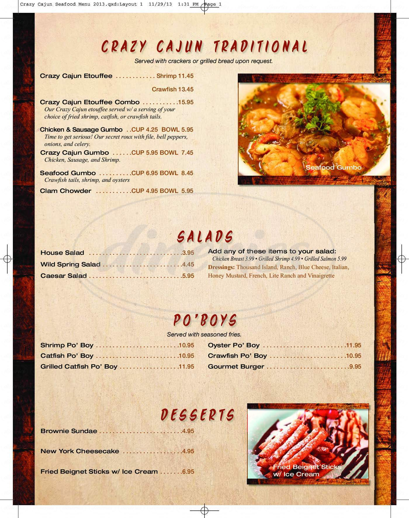 menu for Crazy Cajun Seafood & Sports