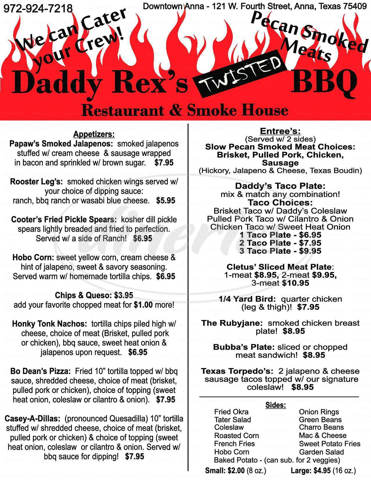 menu for Daddy Rex's Twisted BBQ