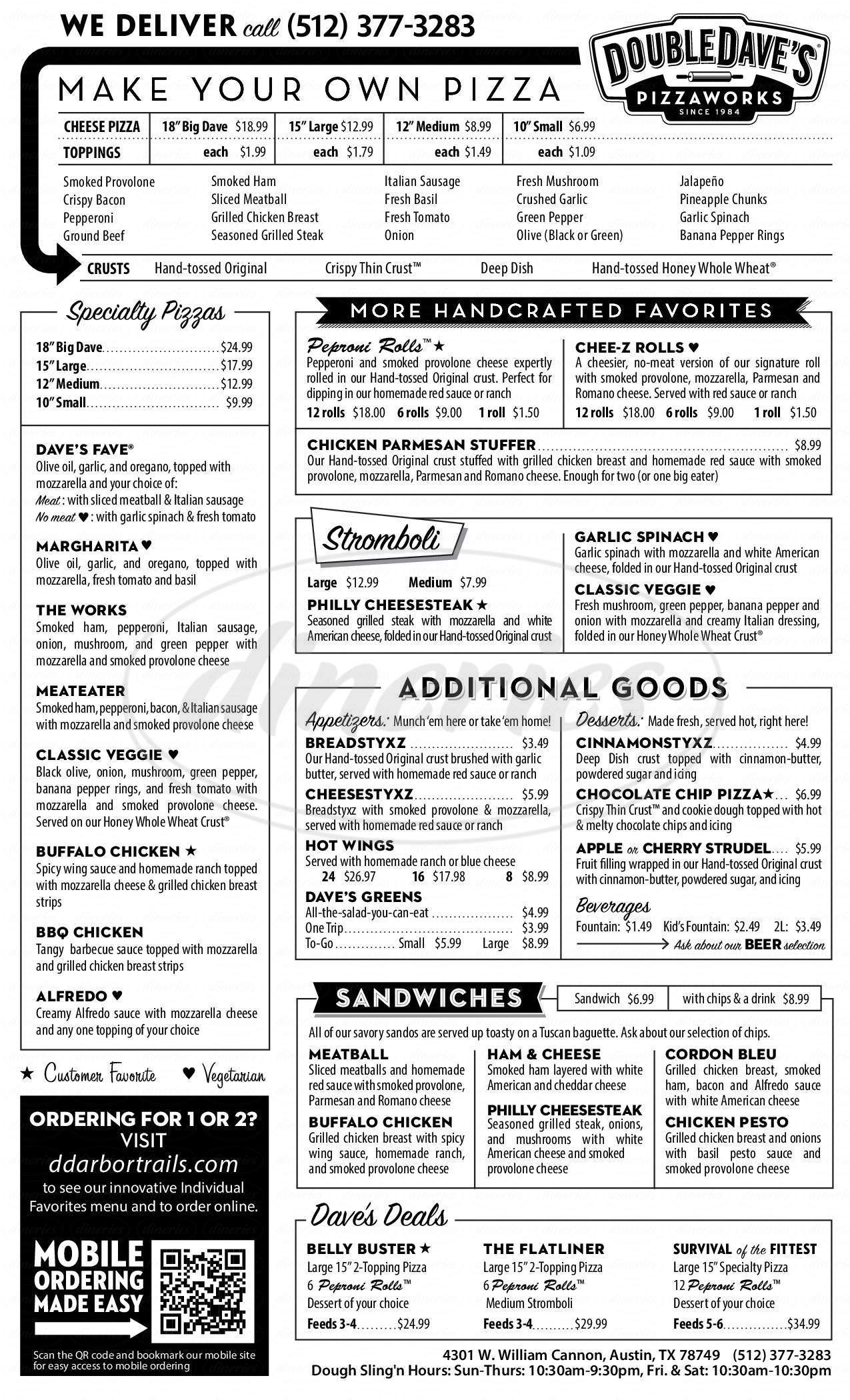 menu for DoubleDave's Pizzaworks