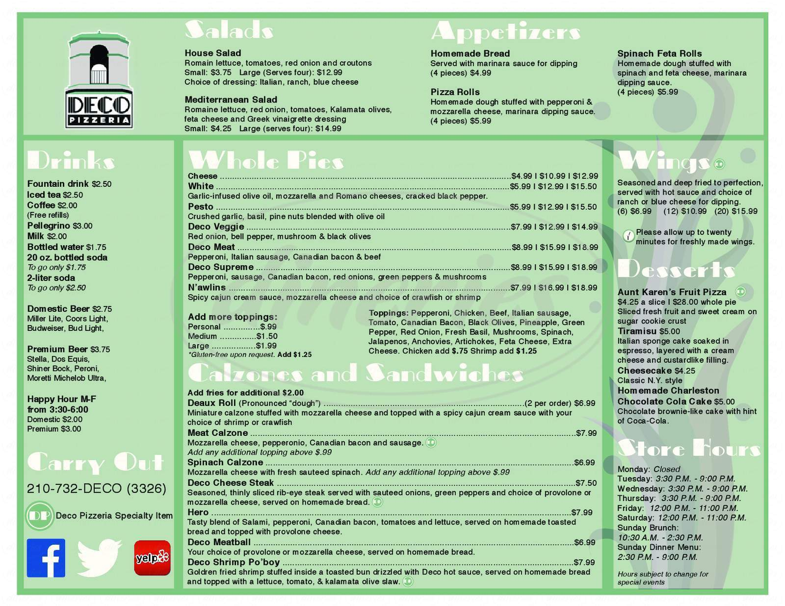 menu for Deco Pizzeria