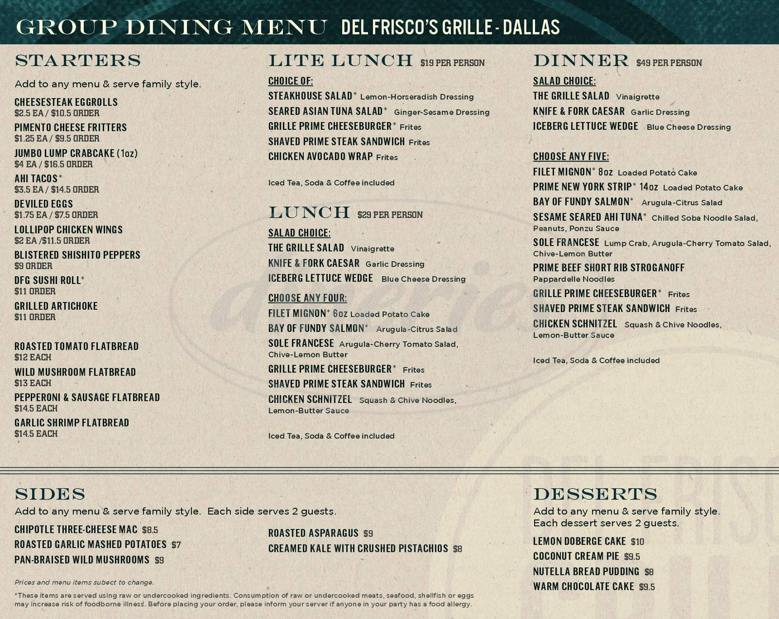 menu for Del Frisco's Grille