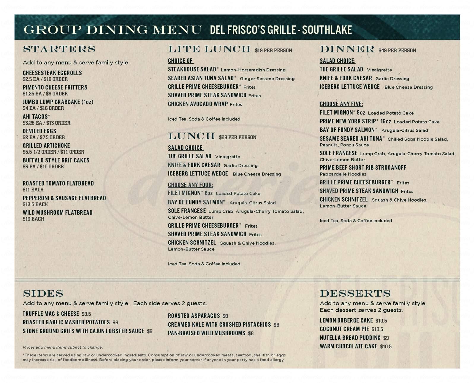 menu for Del Friscos Grille