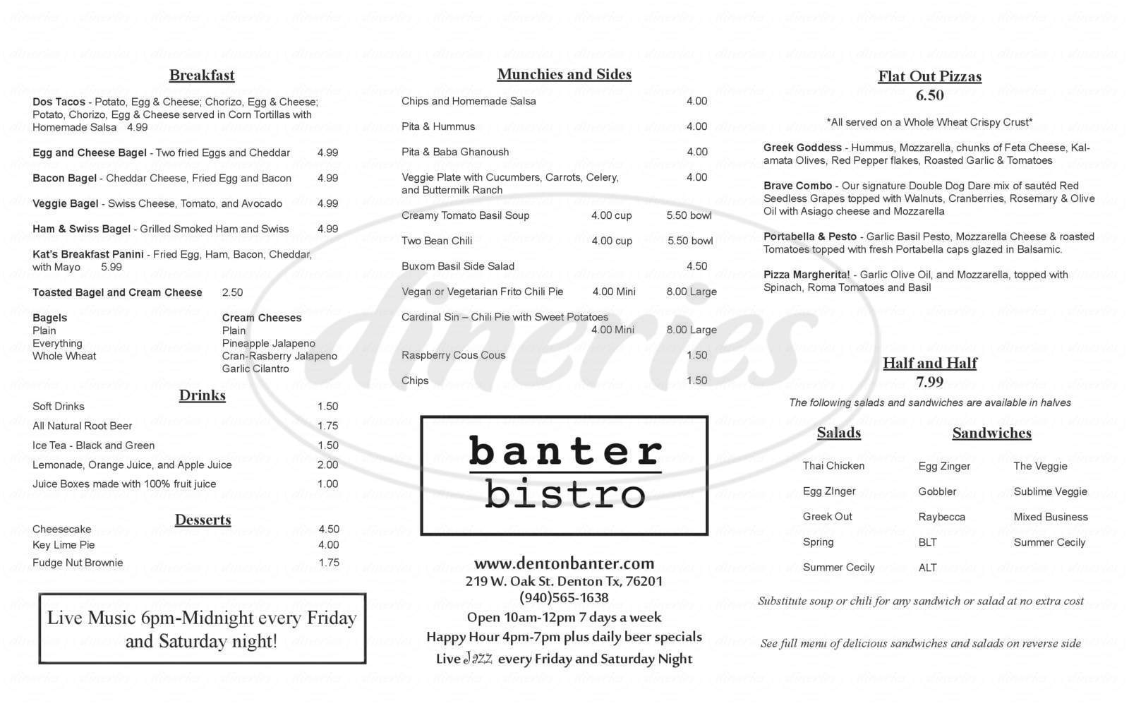 menu for Banter