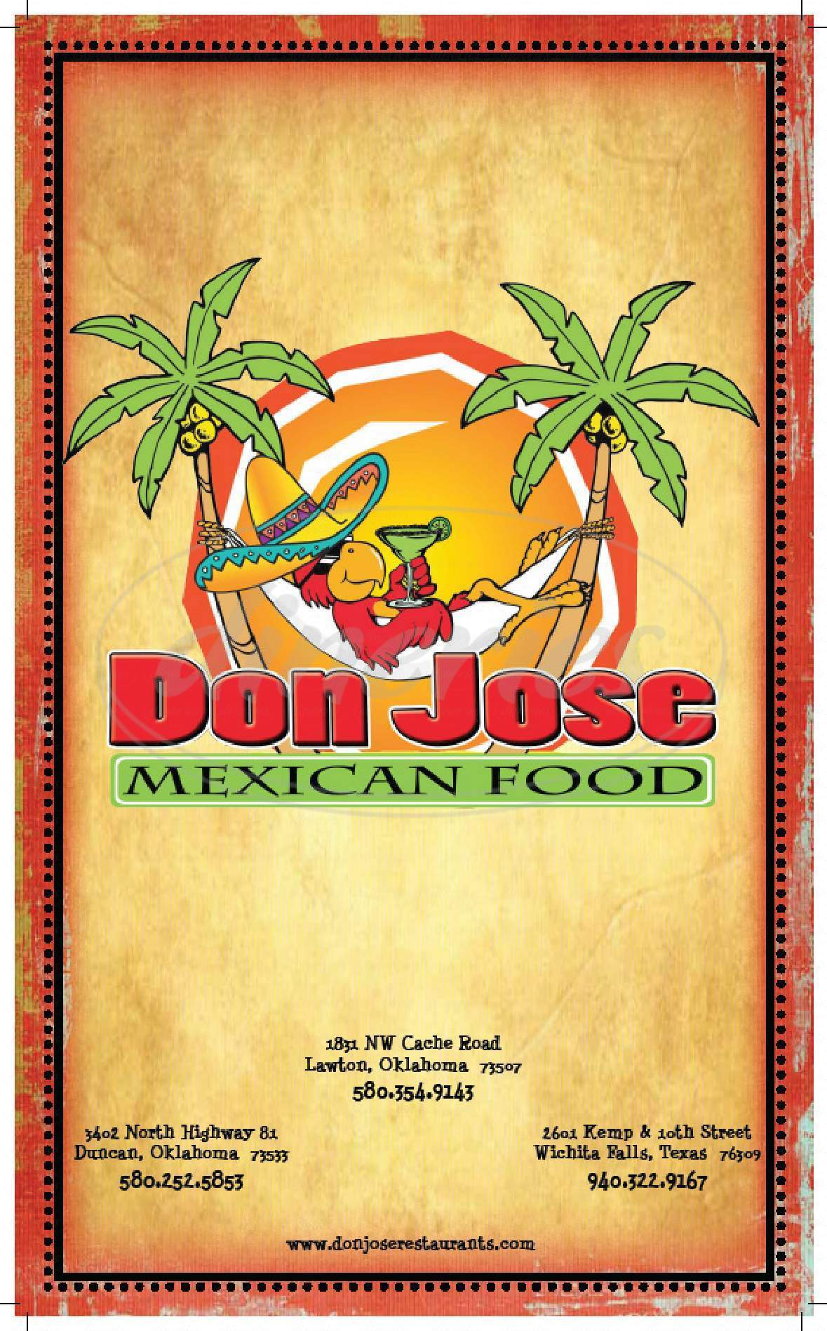 menu for Don Jose Mexican Restaurant of Wichita Falls