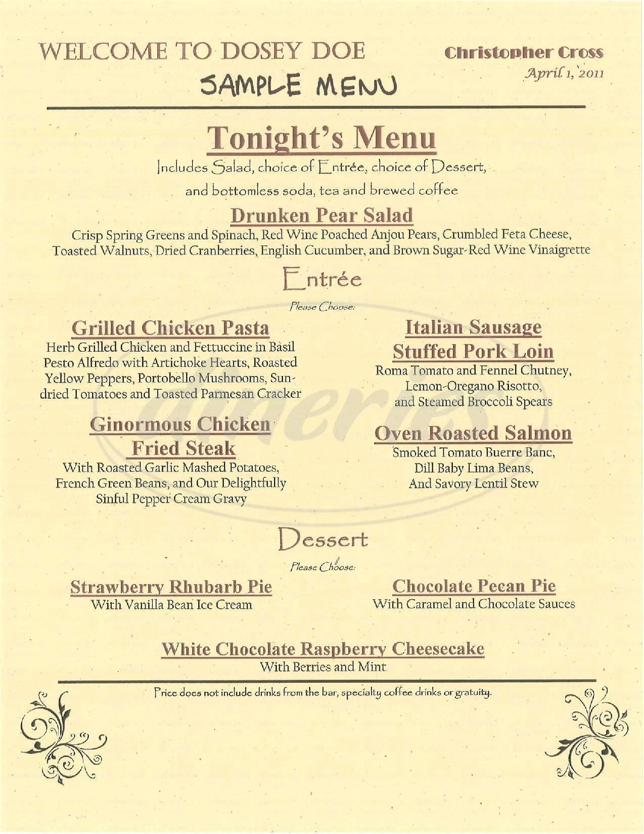 menu for Dosey Doe