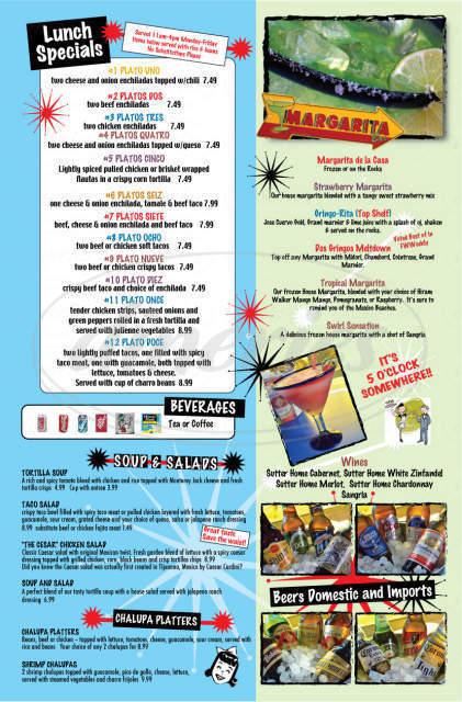 menu for DOS Gringos