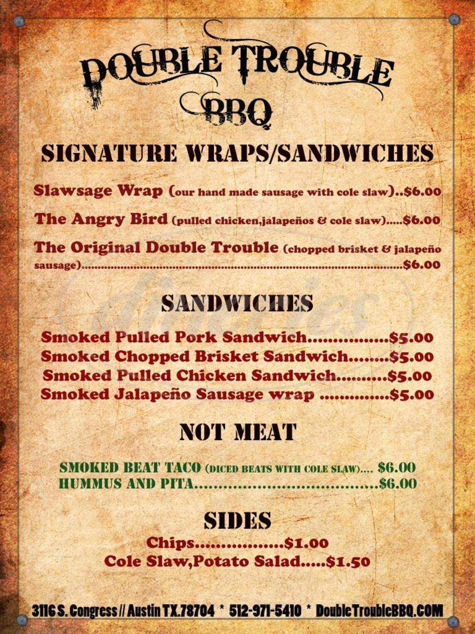 menu for Double Trouble BBQ