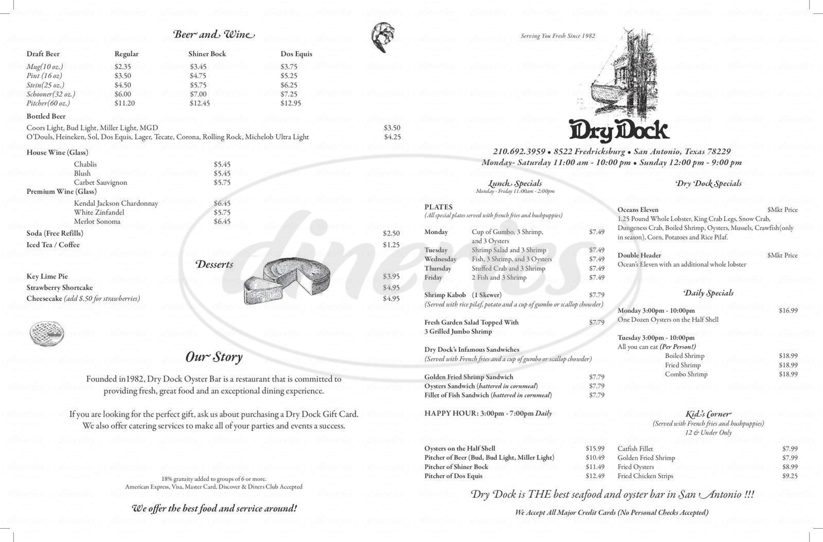 menu for Dry Dock Oyster Bar