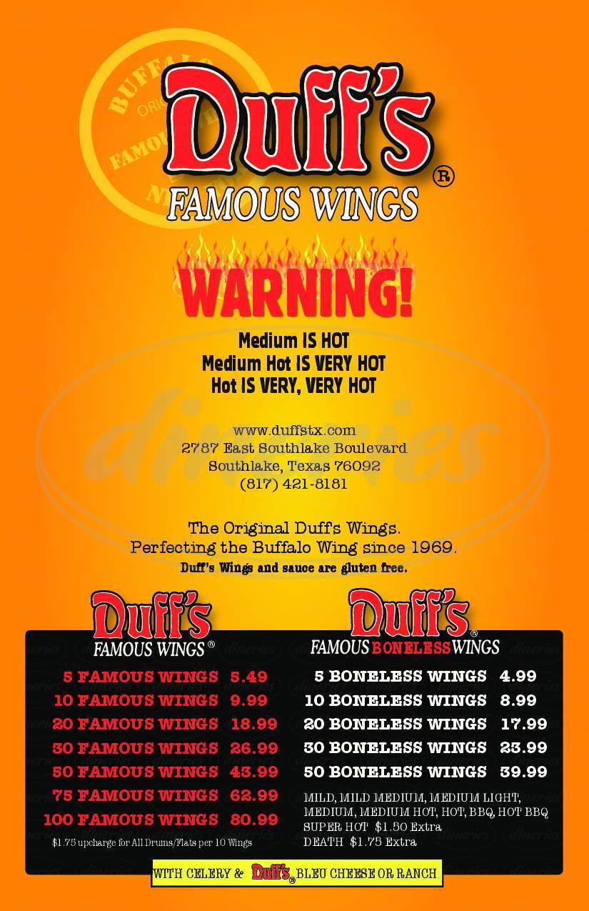 menu for Duff's Famous Wings