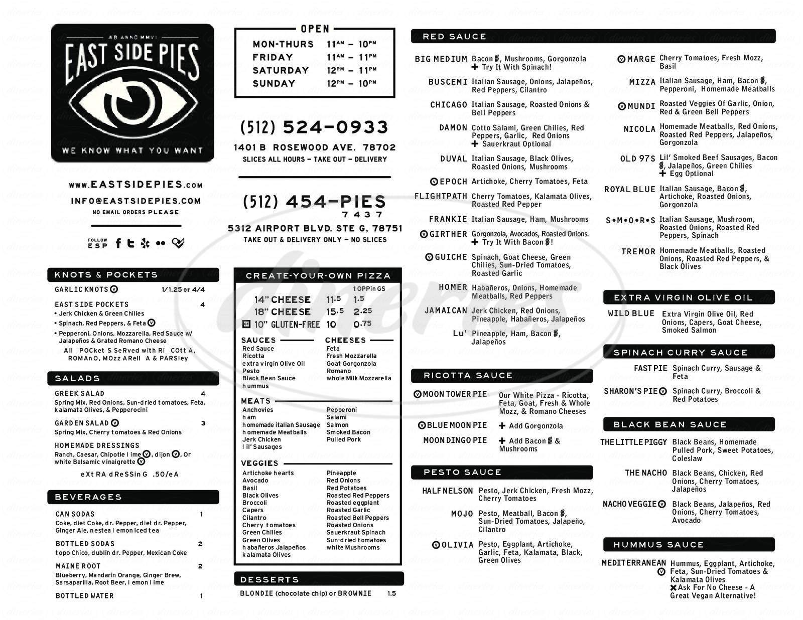 menu for East Side Pies Too!