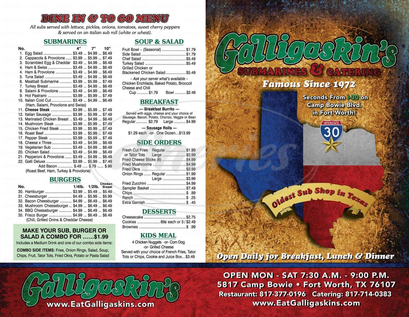 menu for Galligaskin's Submarine Sandwich Shop
