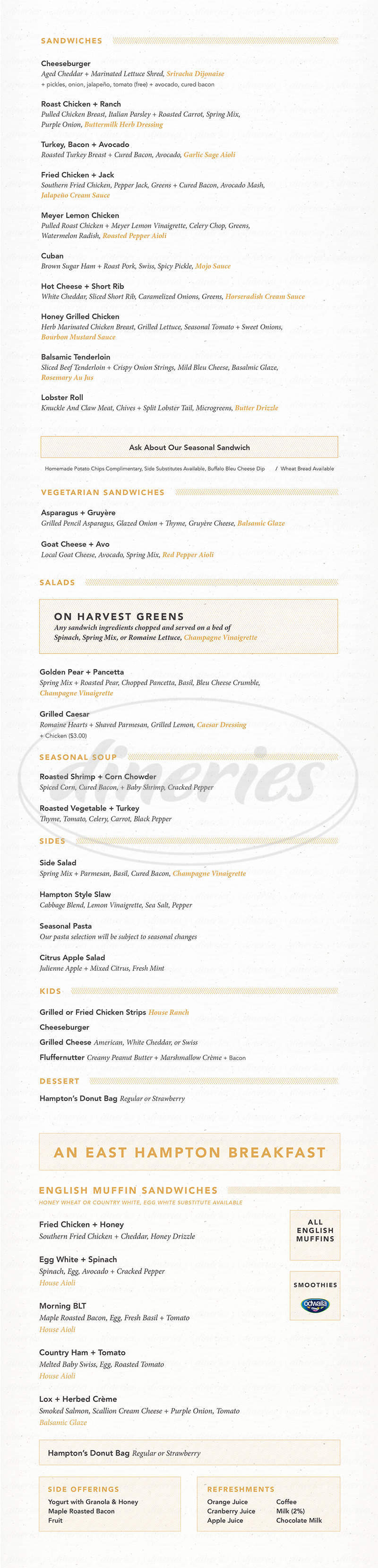 menu for East Hampton Sandwich Co.
