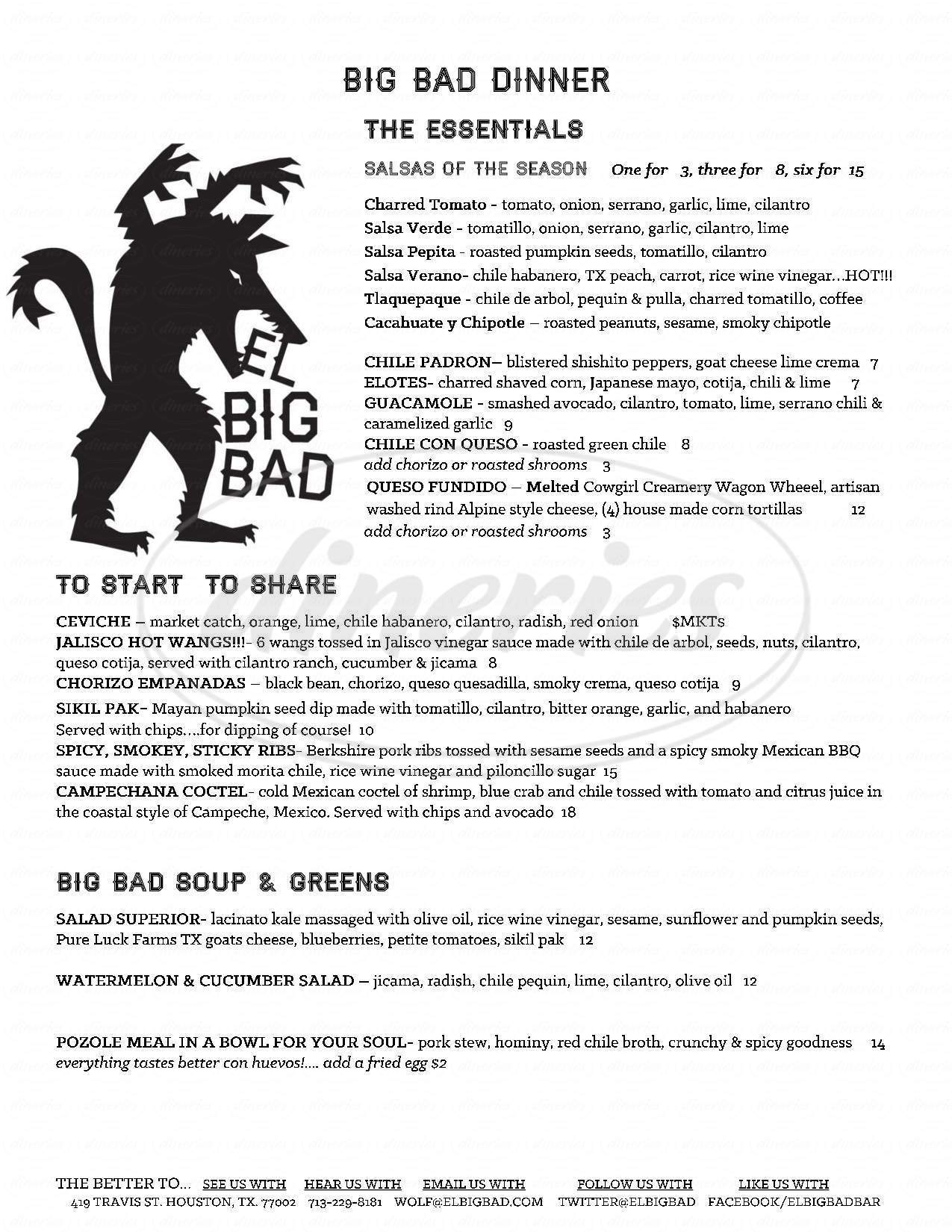 menu for El Big Bad