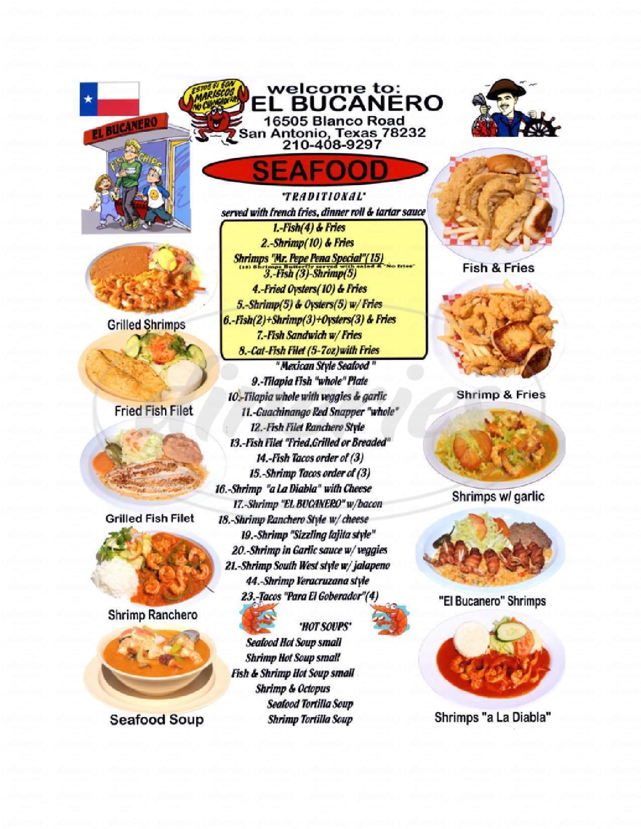 menu for El Bucanero