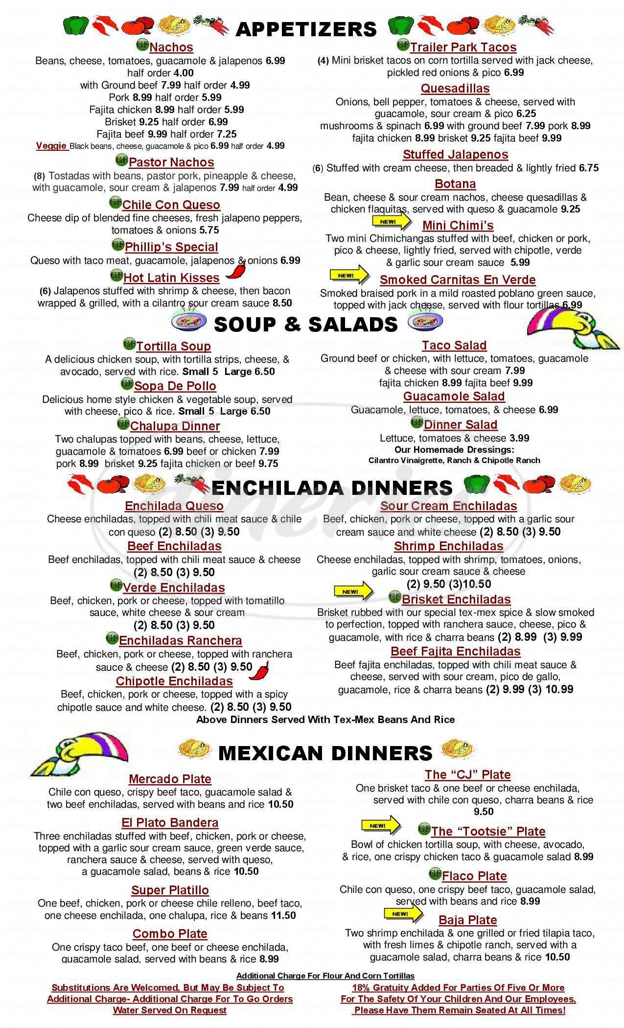 menu for El Mercado